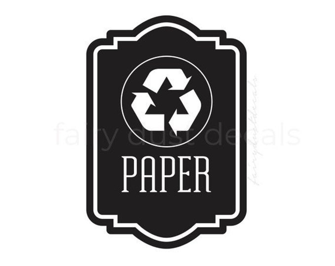 Recycle Symbol Label, Recycle Bin Sticker, recycling symbol, vinyl decal, reduce reuse recycle, recycle paper vinyl decal