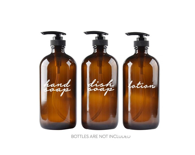 Hand Soap Dish Soap Lotion Label Set, glass soap dispenser bottle vinyl decals, handwritten script style letter, apothecary style decals