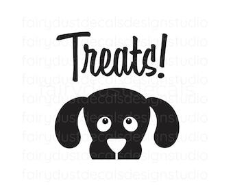 Dog Treats Vinyl Decal, label for dog treat container, pet food decor, dog treats sticker