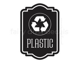 Recycle Plastic Sticker, vinyl decal for recycling tote, recycle plastic