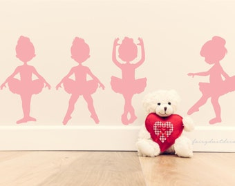 Ballerina Wall Decals, little girl ballet dancer, set of 6, prima ballerina dancer silhouette vinyl stickers