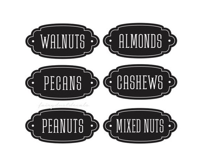10% off sale Pantry Labels, Kitchen Canister Vinyl Decals, Set of 6 stickers, Almonds Decal, Walnuts Decal, Peanuts Decal, Organize Pantry J