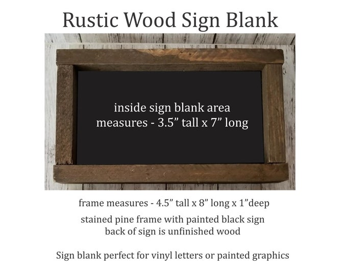 Rustic Wood Sign Blank, brown stained frame with black sign, ready for vinyl or paint