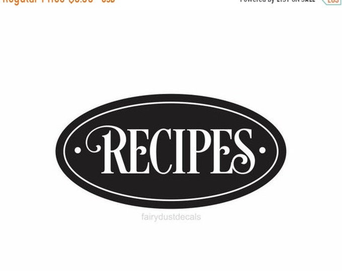 10% off sale Recipes box label, kitchen canister vinyl decal