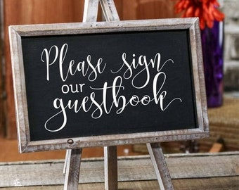 10% off sale Guestbook decal, sign our guestbook, wedding decal, wedding reception stickers, chalkboard sign decal, guestbook sticker, decal