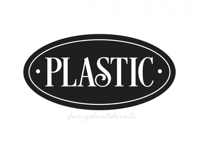 Recycle Plastic Decal, Recycling tote bin sticker, plastic vinyl decal for garage trash barrel, plastic label