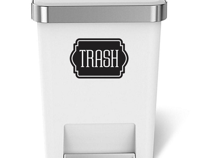 Trash Decal, Sticker for garbage barrel, vinyl decal for trash can, recycling tote decal