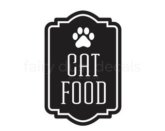 10% off sale Cat Food Container Decal, Sticker for Cat Food Canister, Paw Print, Cat Lover Home Decor