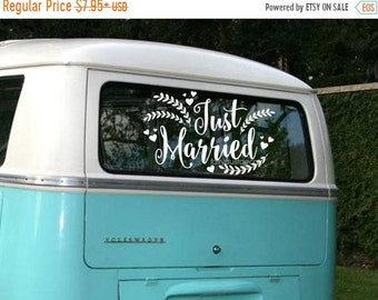 10% off sale Just Married Wedding Decal - Car Window Vinyl Sticker - Honeymoon Sign Decal - Just Married Vinyl Letters - Rustic Farmhouse St