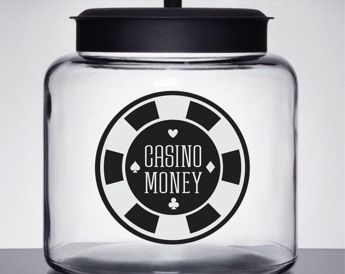 Casino Money Jar Decal, Glass Canister Vinyl Label, Blackjack Money, Gift for Guys, Bachelor Party, Poker Chip Decal