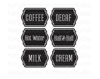 Coffee Bar Label Set, carafe decals, coffee decaf hot water cream milk, wedding dessert coffee station vinyl decals, coffee sign decals