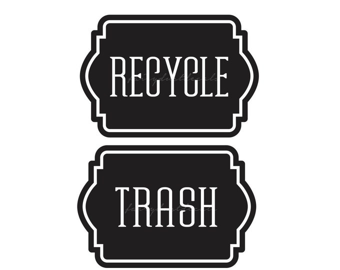 10% off SALE Trash and Recycle Decals, stickers for recycle tote container and trash can
