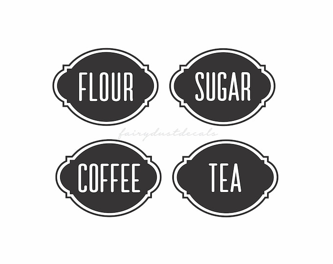 Canister Set Labels, Flour Sugar Coffee Tea Vinyl Decals, kitchen pantry storage organization, set of four container decals