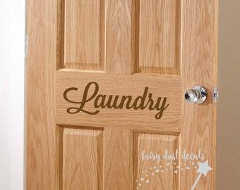 Laundry Room Door Decal, script style vinyl letters, farmhouse laundry decor, laundry vinyl decal