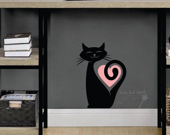 Cat Wall Decal, happy cat sticker, wall or window decal, animal decal, cat vinyl sticker, cat heart wall decal, pet cat decal, black cat