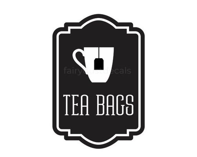 10% off sale Tea Bags Canister Label, tea bags vinyl decal, kitchen organization, pantry decal