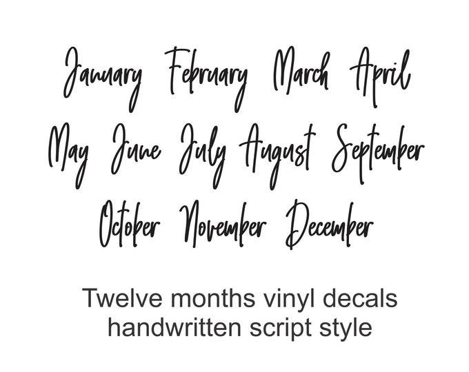 Calendar Months Sticker Labels, vinyl decals, home organization, monthly schedule, dry erase board labels