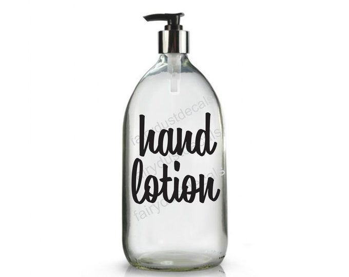Hand Lotion Label for dispenser bottle, vinyl decal