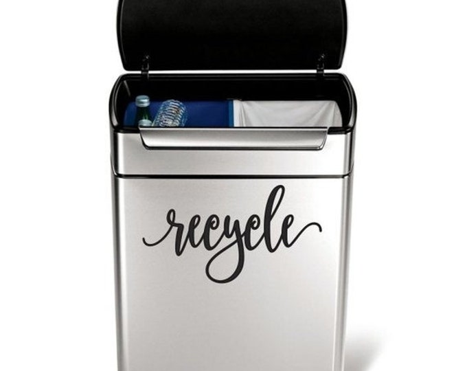 10% off sale Recycle Vinyl Decal in a handwritten script style letter, garbage can sticker, recycling label
