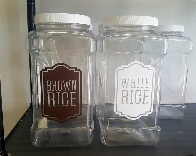 Brown Rice Canister Label, rice vinyl decal, kitchen pantry storage jar sticker, brown rice container sticker, dry goods cooking decals