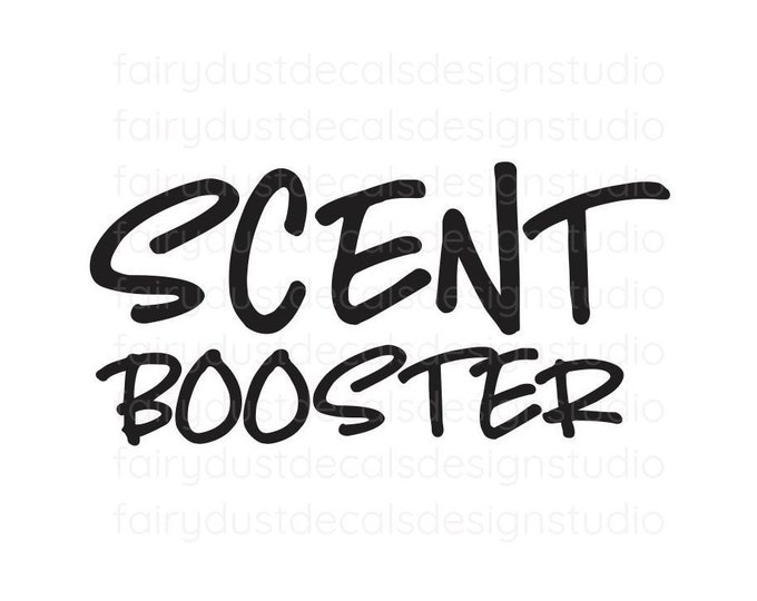 Scent Booster Decal, handwritten style, organized laundry room, laundry cleaning products, detergent container sticker