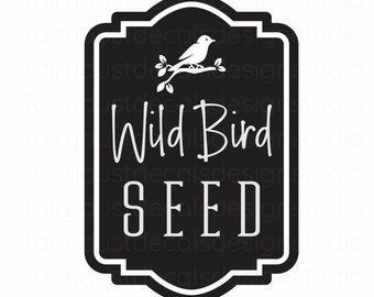 Bird Seed Decal, wild bird seed canister label