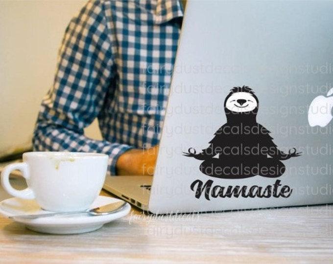 Sloth decal, Namaste yoga pose, sloth laptop sticker, happy yoga sloth vinyl decal