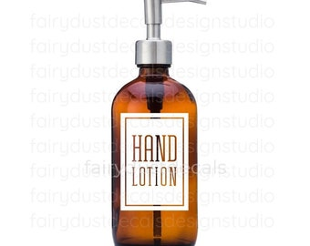 Hand Lotion Label for dispenser bottle, square design vinyl decal