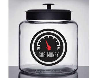 Gas Money Decal, Glass Canister Vinyl Decal, Save Money for Gas, Container Decal to Save Gas Money
