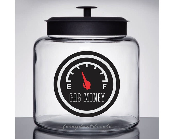 Gas Money Jar Label, Glass Canister Vinyl Decal, Save Money for Gas