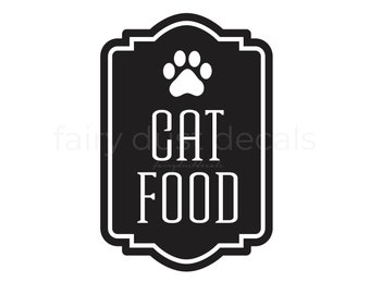 Cat Food Container Decal, Sticker for Cat Food Canister, Paw Print, Cat Lover Home Decor
