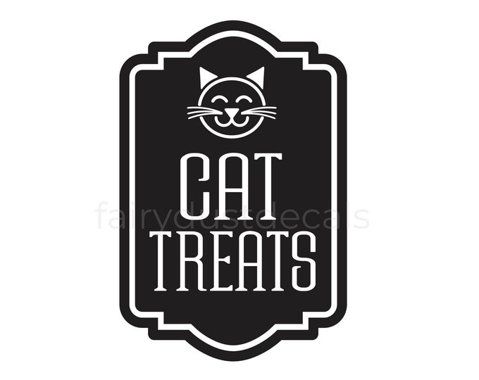 Cat Treats Container Label Decal, Sticker for Cat Treats Canister, Cat Lover Home Decor