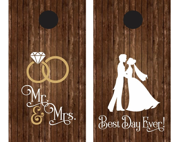 Wedding cornhole game decals for boards - bride and groom - wedding rings - Mr & Mrs - Best Day Ever - corn hole game for party or wedding