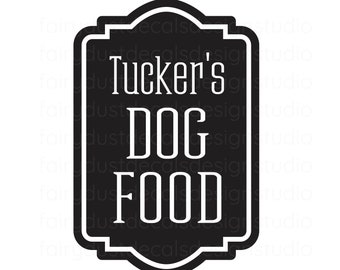 Dog Food Decal, Personalized Pet Name Sticker