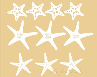 Starfish Wall Decals, seashell vinyl stickers, free shipping