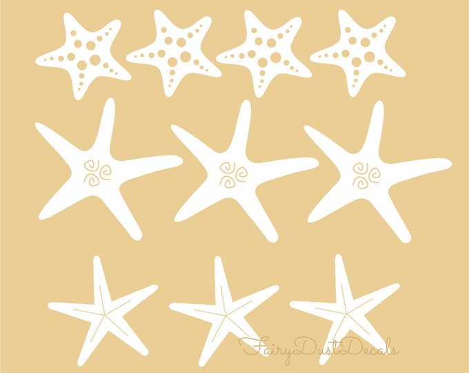 Starfish Wall Decals, Seashell stickers, beach vacation home wall decals, starfish seastar mermaid theme decor
