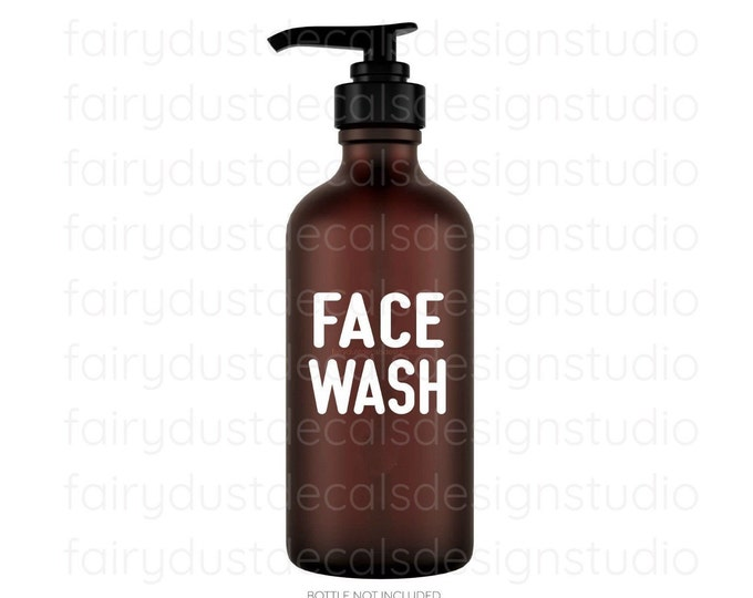Face Wash Decal for glass apothecary bottle, face wash vinyl decal, farmhouse style bathroom decor, apothecary bottle label