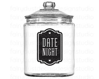 Date Night Fund Money Jar Decal, Glass Canister Vinyl Label, Newlywed Money Jar, Wedding Shower Gift, date night decal