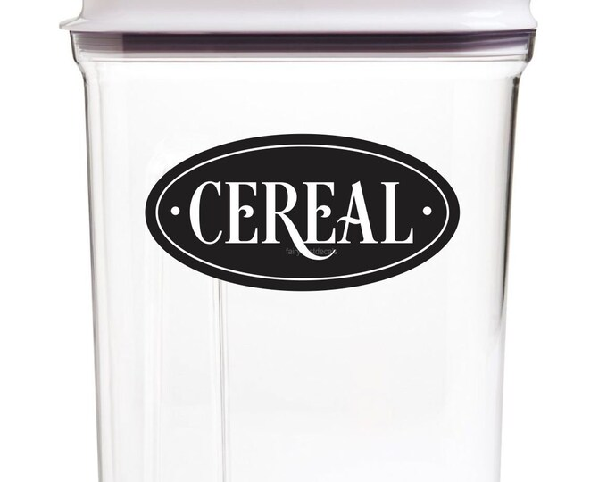 Breakfast Cereal Canister Label, home kitchen pantry organization, cereal vinyl decal, cereal container sticker