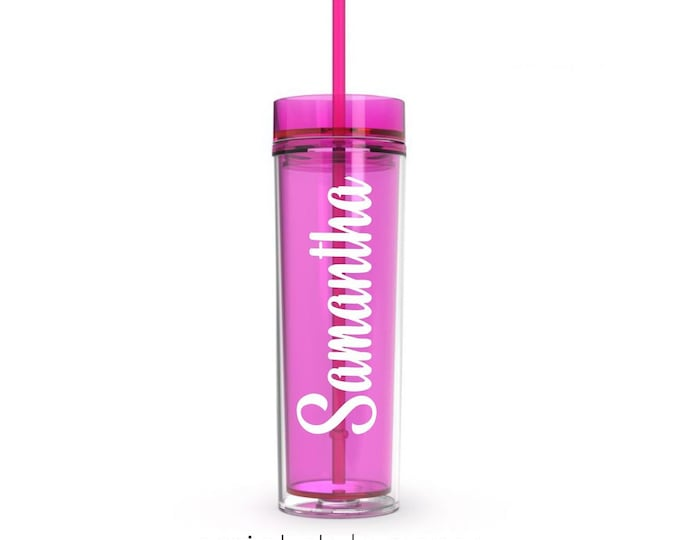 Hot Pink Acrylic Plastic Skinny Tumbler with matching straw, 16 ounce water bottle, Easter gift, personalized drinkware for bridesmaids