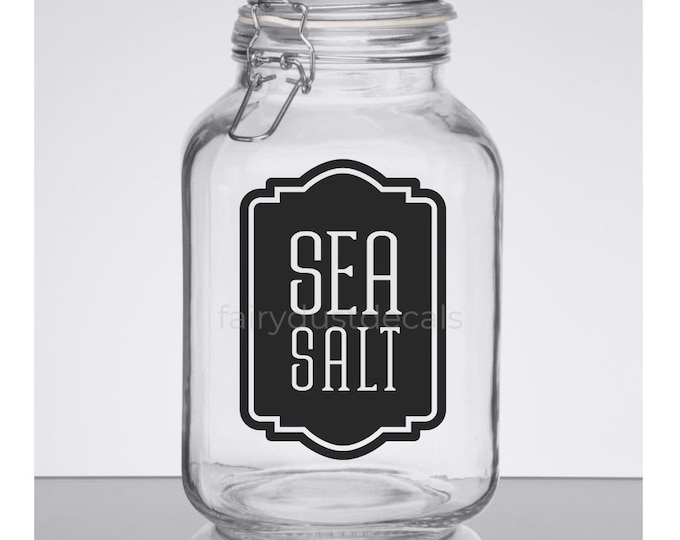 Sea Salt Canister Label, sea salt vinyl decal, kitchen pantry storage jar sticker, sea salt decal
