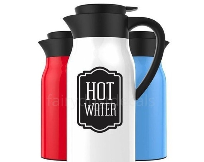 10% off sale Hot Water Label, Carafe Decal, vinyl decal for wedding drink station, coffee bar vinyl decal