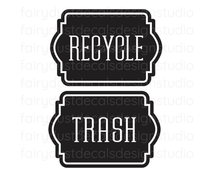 Trash and Recycle Decals, stickers for recycle tote container and trash can