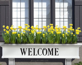 Welcome Decal. front door sticker, welcome sign label for flower box planter, welcome vinyl decal, free shipping
