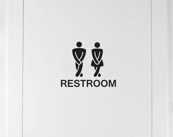 Restroom Door Decal, funny unisex bathroom sign