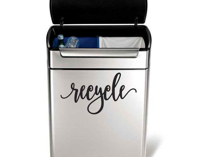 Recycle Vinyl Decal in a handwritten script style letter, garbage can sticker, recycling label