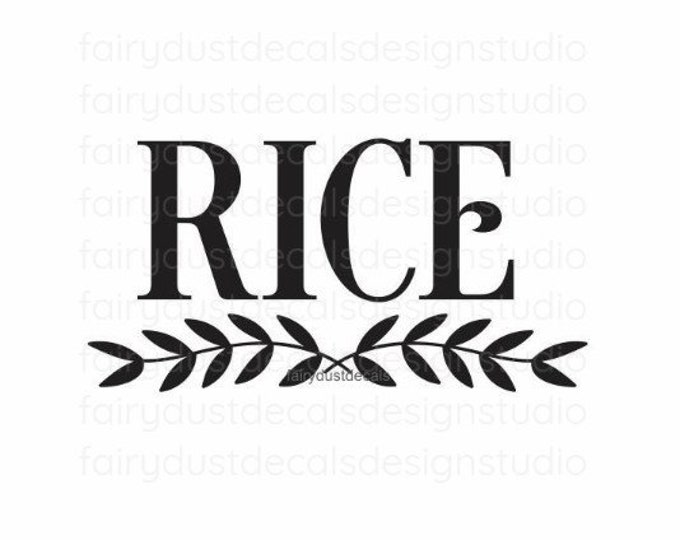 Rice Decal for Kitchen Canister, pantry storage and organization, rice vinyl decal,