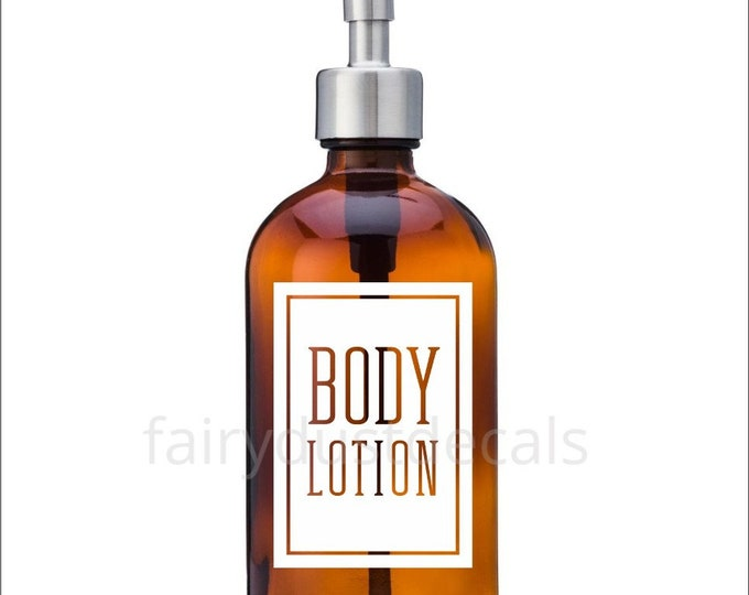 Body Lotion Label for dispenser bottle, square design vinyl decal