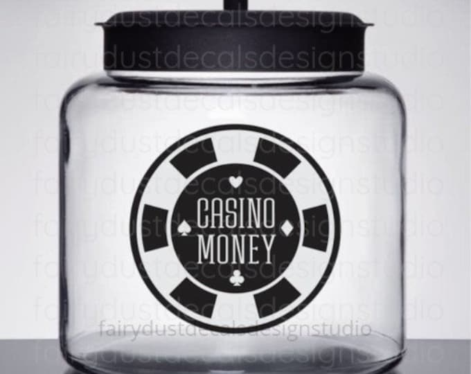 Casino Money Jar Decal, casino money sticker for container