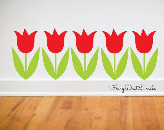 Tulip decals, storefront display, spring flower decals, Easter decor, tulip flower wall decals